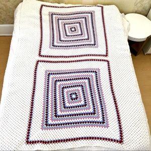 Vintage crochet granny square twin bedspread white